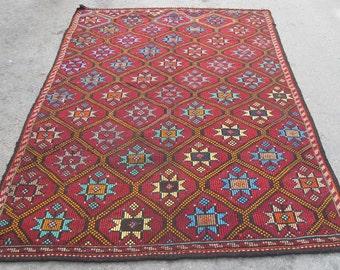 kilim rug free shipping VINTAGE TURKİSH antalya cecim kilim Anatolian kilim rug decorative kilim - SİZE : 72'' X 122'' ( 180 cm X 305 cm)