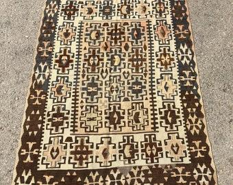 """52"""" x 36"""" small kilim, small rug, small turkish kilim , pastel rug, pastel kilim , vintage rug"""