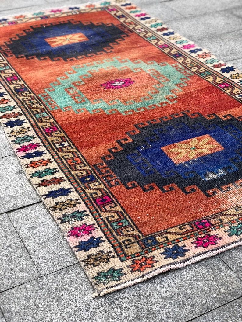 3.8 X 7 ft Colorful Rug Boho Decor Rug Handmade Rug Turkish Rug 46 x 84 Rug Bohemian rug Orange rug Pastel Color Rug Vintage Rug