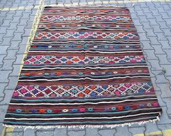 free shipping VINTAGE TURKİSH balya cecim kilim Anatolian handwoven kilim rug decorative kilim - SİZE : 62'' X 93'' ( 155 cm X 233 cm)