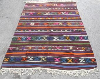 free shipping VINTAGE TURKİSH balya kilim Anatolian handwoven kilim rug decorative kilim - SİZE : 64'' X 100'' ( 160 cm X 250 cm)