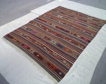 free shipping VINTAGE TURKİSH Balya kilim Anatolian - Rug Carpet-handwoven kilim rug - decorative kilim - SİZE:62'' X 84'' (155 cm X 210 cm)