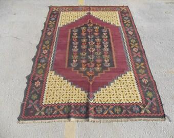 free shipping VINTAGE TURKİSH denizli kilim Anatolian handwoven kilim rug decorative kilim - SİZE : 55'' X 88'' ( 138 cm X 220 cm)