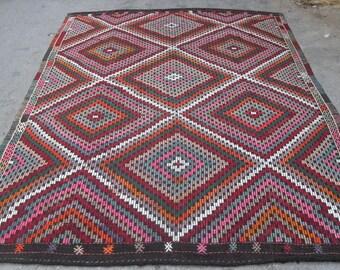 kilim rug free shipping VINTAGE TURKİSH antalya cecim kilim Anatolian handwoven decorative kilim - SİZE : 84'' X 117'' ( 210 cm X 293 cm)