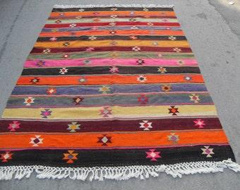 free shipping VINTAGE TURKİSH balıkesir kilim Anatolian handwoven kilim rug decorative kilim - SİZE : 80'' X 120'' ( 200 cm X 300 cm)