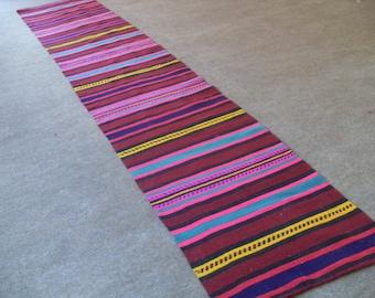 kilim free shipping VINTAGE TURKİSH  runner kilim Anatolian handwoven kilim rug decorative kilim - SİZE : 24'' X 68'' ( 60 cm X 310 cm)