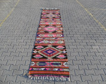 free shipping VINTAGE TURKİSH antalya runner kilim Anatolian handwoven kilim rug decorative kilim - SİZE : 32'' X 156'' ( 80 cm X 390 cm)