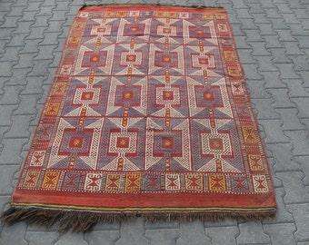 free shipping VINTAGE TURKİSH canakkale kilim Anatolian handwoven kilim rug decorative kilim - SİZE : 54'' X 86'' ( 136 cm X 215 cm)
