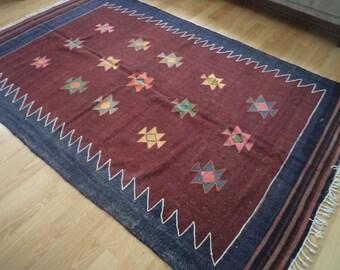 free shipping VINTAGE TURKİSH  kilim Anatolian handwoven kilim rug  decorative kilim - SİZE : 66'' X 105'' (165 cm X 263 cm)