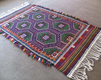 free shipping VINTAGE TURKİSH cecim kilim Anatolian handwoven kilim rug decorative kilim - SİZE : 46'' X 76'' (117 cm X 190 cm)