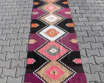 kilim rug runner kilim free shipping VINTAGE TURKİSH antalya runner kilim Anatolian decorative kilim - SİZE : 31'' X 170'' ( 78 cm X 425 cm)