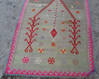 "free shipping VINTAGE TURKİSH sivas kilim Anatolian handwoven kilim rug decorative kilim - SİZE : 35"" X 50"" (88 cm X 125 cm )"