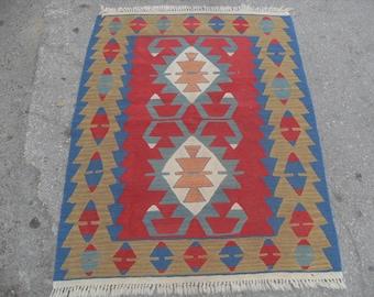 "small red kilim rug,  36"" X 48"" red rug, Kilim rug, Vintage Turkish rug, kelim rug, vintage rug, bohemian rug, eccentric rug, small kilim"