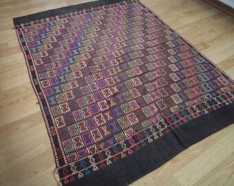 free shipping VINTAGE TURKİSH cecim kilim Anatolian handwoven kilim rug  decorative kilim - SİZE : 56'' X 75 '' (140 cm X 188 cm)
