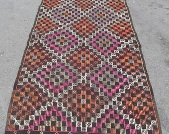 kilim rug free shipping VINTAGE TURKİSH antalya cecim kilim Anatolian  kilim rug decorative kilim - SİZE : 41'' X 93'' ( 103 cm X 233 cm)