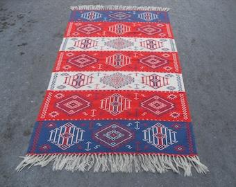free shipping VINTAGE TURKİSH blackgoats kilim Anatolian handwoven kilim rug decorative kilim - SİZE : 46'' X 80'' ( 117 cm X 200 cm)