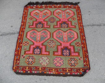 free shipping VINTAGE TURKİSH aydın kilim Anatolian handwoven kilim rug decorative kilim - SİZE : 43'' X 56'' ( 108 cm X 140 cm)