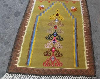"free shipping VINTAGE TURKİSH sivas  kilim Anatolian handwoven kilim rug decorative kilim -SİZE : 36"" X 54"" (90 cm X 135 cm )"