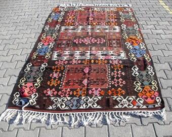 kilim rug free shipping VINTAGE TURKİSH dursunbey kilim Anatolian handwoven kilim decorative kilim - SİZE : 64'' X 102'' (160 cm X 255 cm)