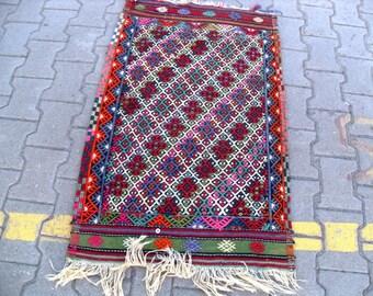 free shipping VINTAGE TURKİSH mut cecim kilim Anatolian handwoven kilim rug decorative kilim - SİZE : 28'' X 46'' ( 70 cm X 115 cm)