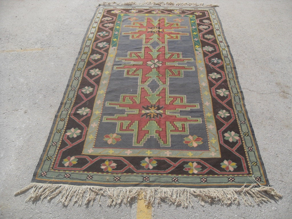 green Kilim rug, 21