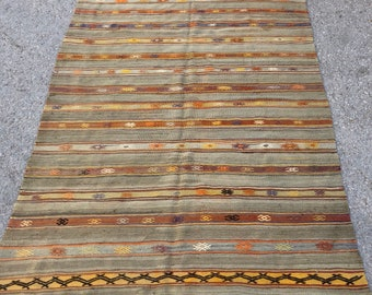 "Camel wool rug, 92"" x 63"" , Antalya rug, area rug , area kilim , kilim , turkish kilim , natural wool rug"