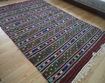 free shipping VINTAGE TURKİSH  kilim Anatolian handwoven kilim rug  decorative kilim - SİZE : 66'' X 105 '' (166 cm X 262 cm)