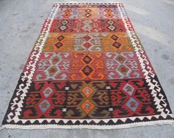 kilim rug free shipping VINTAGE TURKİSH sivrihisar kilim Anatolian handwoven kilim decorative kilim - SİZE : 54'' X 136'' (163 cm X 340 cm)