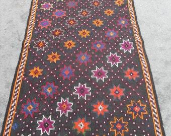 kilim rug free shipping VINTAGE TURKİSH antalya cecim kilim Anatolian  rug decorative kilim - SİZE : 43'' X 95'' ( 108 cm X 238 cm)