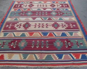 free shipping VINTAGE TURKİSH konya kilim Anatolian handwoven kilim rug decorative kilim - SİZE : 90'' X 128'' ( 225 cm X 320 cm)