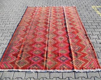 kilim rug free shipping VINTAGE TURKİSH ousak kilim Anatolian handwoven kilim rug decorative kilim - SİZE : 72'' X 110'' ( 180 cm X 275 cm)