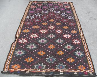 kilim rug free shipping VINTAGE TURKİSH antalya cecim kilim Anatolian handwoven  decorative kilim - SİZE : 52'' X 95'' ( 130 cm X 238 cm)