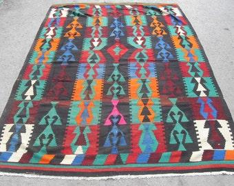 free shipping VINTAGE TURKİSH balıkesir blackgoats kilim Anatolian handwoven rug decorative kilim - SİZE : 72'' X 106'' ( 180 cm X 265 cm)