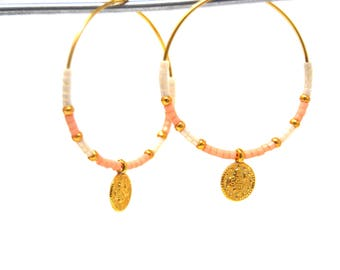 hoop earrings gold plated snowflake collection.