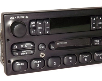 Ford Van Truck 1999 to 2010 Radio AM FM Cassette Modified w Auxiliary Input - Remanufactured and Upgraded - World Plug - F150 F250 F350