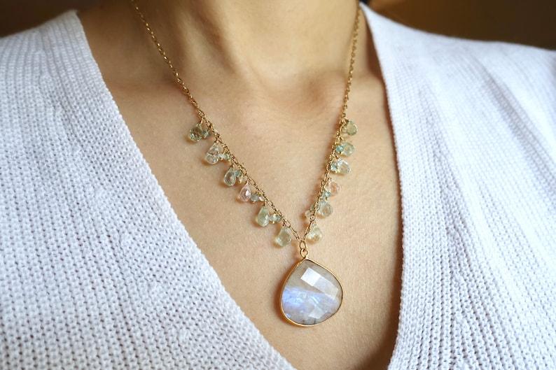 rainbow moonstone cluster dainty bridal jewelry Moonstone Y Necklace moonstone wedding necklace andromedas star June birthstone pendant