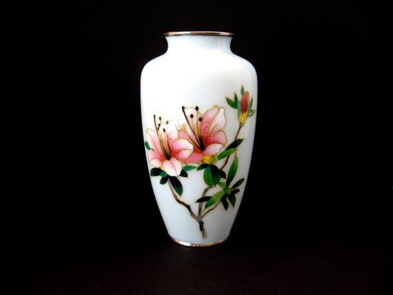 Antique Japanese Cloisonne Vase Cloisonne Enamel Hibiscus Etsy