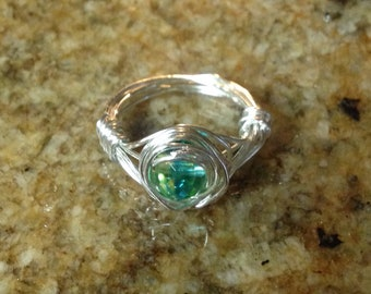 Blue-Green Wire-wrapped Glass Bead Ring