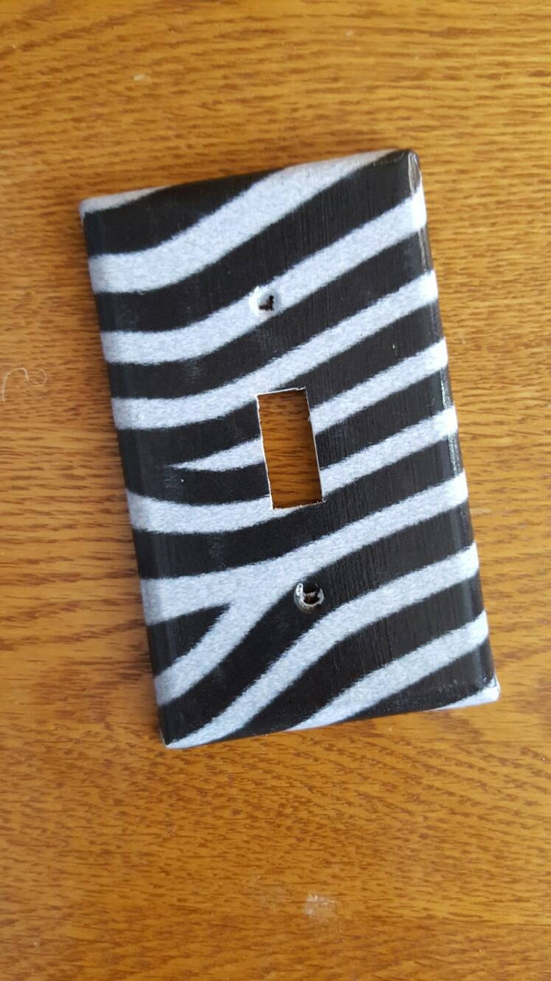 Zebra Print Switch Plate, Light Switch, Outlet Cover! Black and White Zebra  Skin