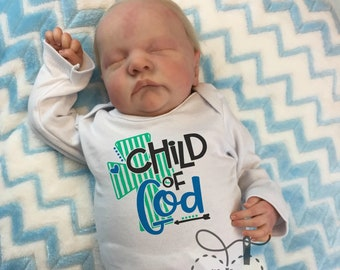 Newborn Baby Outfit Hospital Onesie Gender announcement Pregnancy Announcement Outfit Biblical Onesie Baby Girl Child of God Church Baby