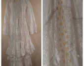 Vintage 70s Ethnic India Dress Boho Indian Festival Crochet Lace Wedding Mexican