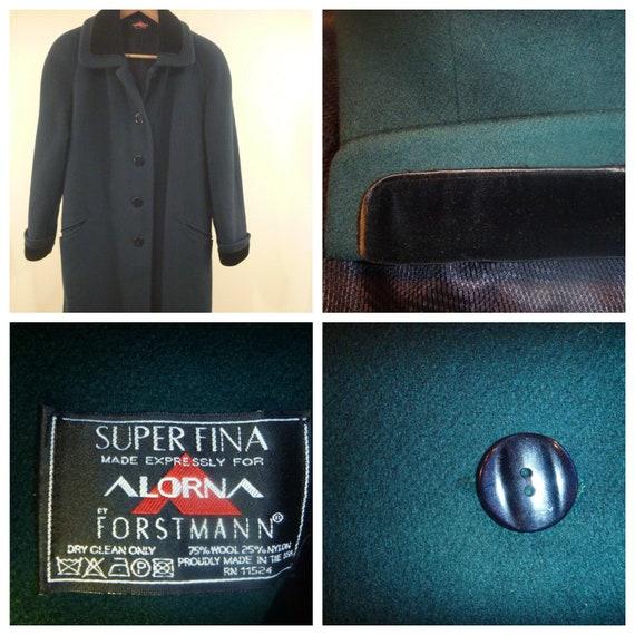 Women M L Overcoat Velvet Cuff Long Wool Blend USA