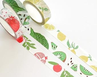 Set of 3 washi tapes, lemons, kiwis and pomegranate, masking tape