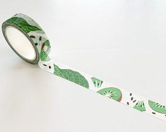 Kiwi washi tape, masking tape, patterned washi tape, washi tape cottagecore