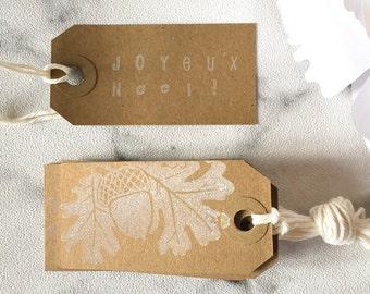 10 Christmas Gift Tags - 'Joyeux Noël' - Kraft Tags, White Tags, Christmas Gift Wrap, christmas favor tags, family gift tags, tags