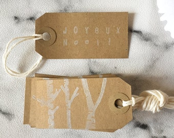 10 Christmas Gift Tags - 'Joyeux Noël' - Kraft Tags, White Tags, Christmas Gift Wrap, favor tags, kraft tags, tags, christmas gift