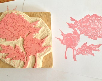 Large peonies hand carved rubber stamp, mounted on a wood block, flower rubber stamp, bridal shower gift, unique wedding gift, Ranuculus