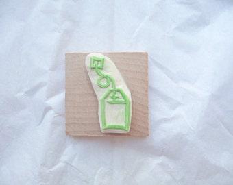 Tampon en gomme, motif sachet de thé, gravé à la main