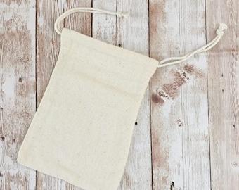 """Pochon en coton épais, 10x15cm, 4""""x6"""", pochon avec liens, Parfait pour tamponner, Emballage personnalisé"""