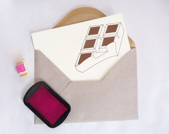 Chocolate bar card - Gift for girlfriend - Chocolate poster - Chocolate lover gift - Girlfriend gift - Letterpress notecard - wall art
